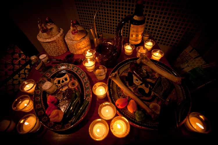 A shrine with offerings for the Bronx Pipe Smoking Society's Patron Spirit,