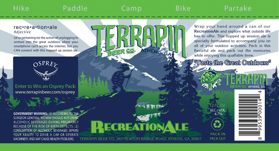 It would be a dream to go hiking with the terrapin mascot. This is the design for the forthcoming can.
