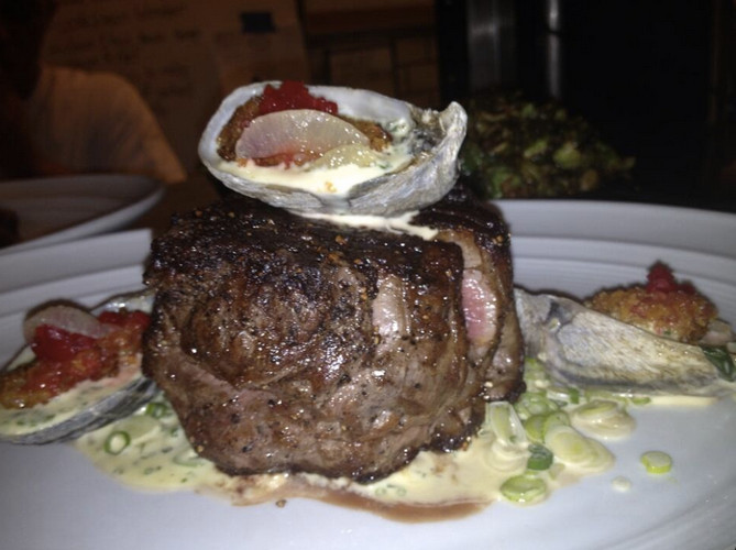 This carbetbagger steak and oysters from The Darby couldn't be more perfect. (Photo: