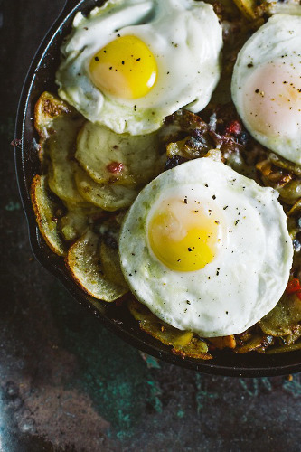 This breakfast skillet has two kinds of potatoes, Gruyere, bacon, and kale. It seems healthy enough.