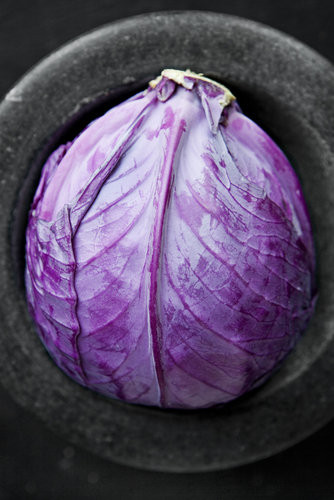 We might ask what a purple cabbage is doing in a molcajete, but it looks so damn good that we just don't care.