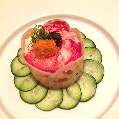 Steamed lobster with uni mousse, lotus wrap, smoked uni and caviar. My god. (Photo: @hungryrabbitnyc)