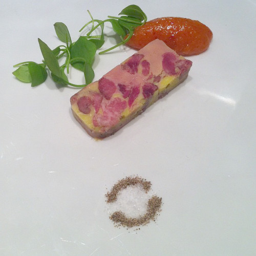 Don't try this at home: oxtail and smoked foie gras terrine with apricot mostarda from