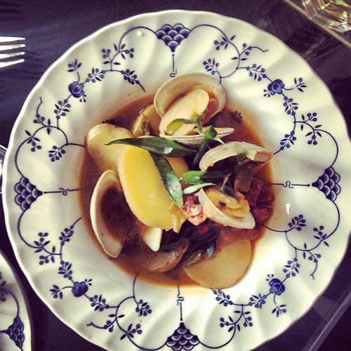 @juliabainbridge made some clams with chorizo and potato.