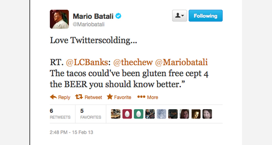 Batali will never tak e a #Twitterscolding sitting down.