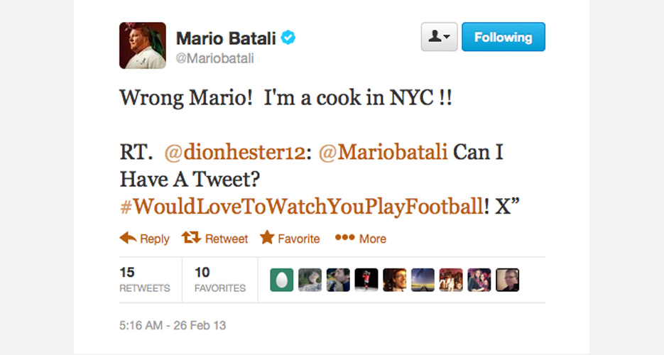 No smack talk here, but whenever Batali responds to Mario Balotelli fans/haters, it's comedy gold.