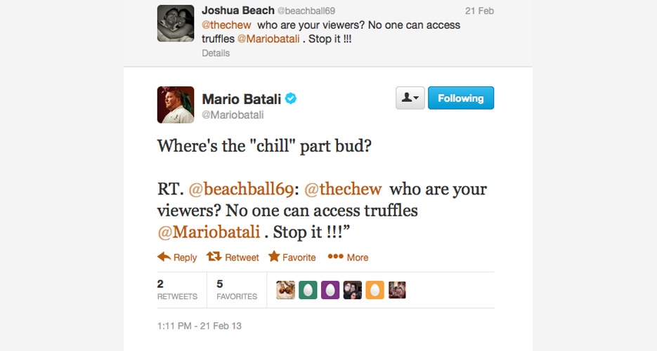 Batali isn't too big to do some Internet sleuthing (i.e., looking at your profile) to gather fodder for a public flogging.