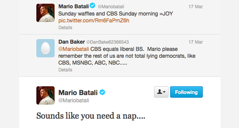 For someone who seems to never sleep, Batali loves to suggest that other people take a nap.