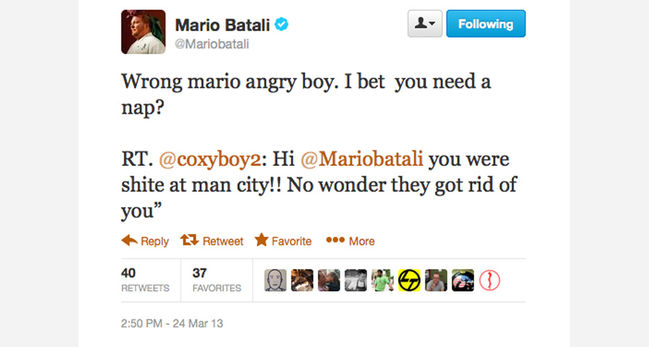 Batali even takes time to respond to haters on behalf of Milan striker