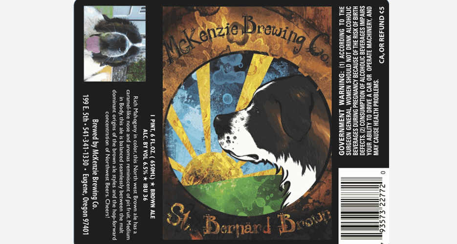I love how the actual dog that inspired the art is also on the label.