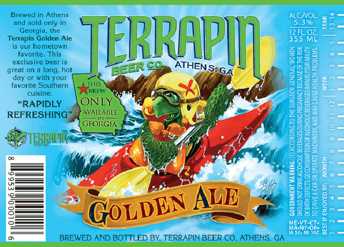 The Terrapin Beer Co. mascot slays some rapids.