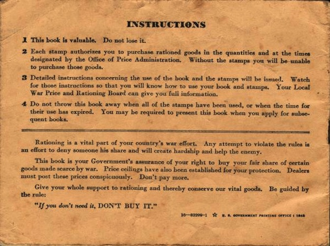 Instructions on the back of a ration book.  Source: NC Learning