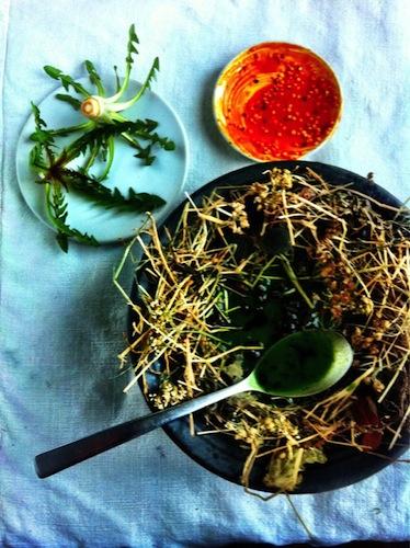 Dandelion salad with pollen vinegrette.