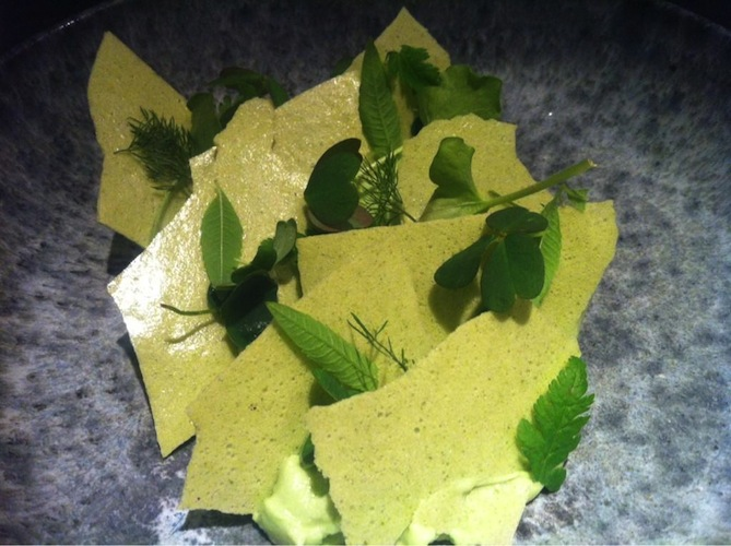 Green celery ice cream, Spanish chervil crisps, and sorrel.