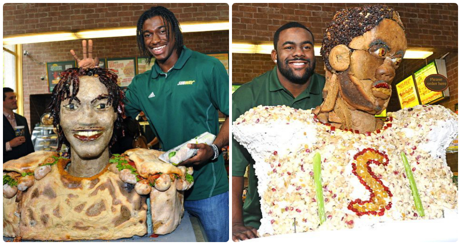 Mark Ingram and Robert Griffin III in sandwich still life. (Photos: Sports Illustrated and Jim Victor)