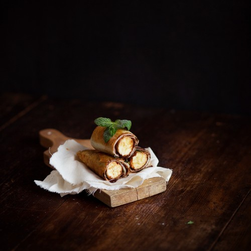 A banana, chocolate, and mint roll sounds like the best kind of egg roll there is.