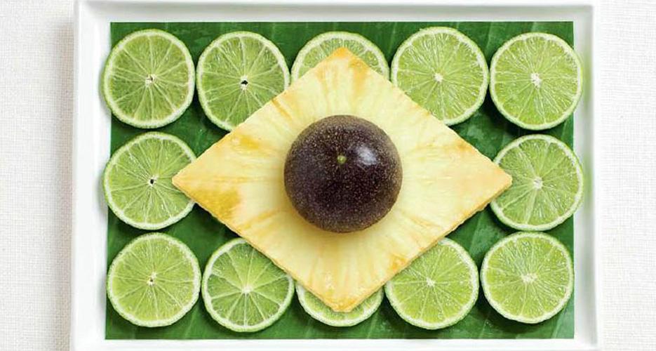 Brazil (banana leaf, limes, pineapple, passion fruit)