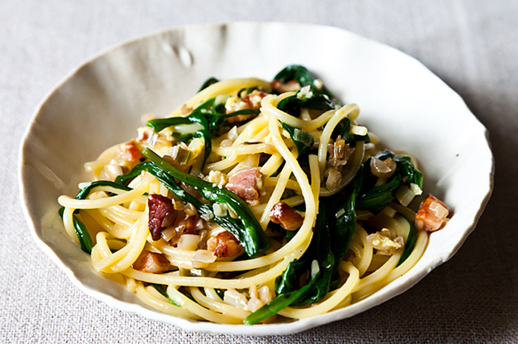 Ramp Carbonara.         Aside from the ramps, this is a pantry meal -- but your guests will never know it. And if you don't have, can't find, or just generally don't want to bother with pancetta, just get bacon! Get the recipe