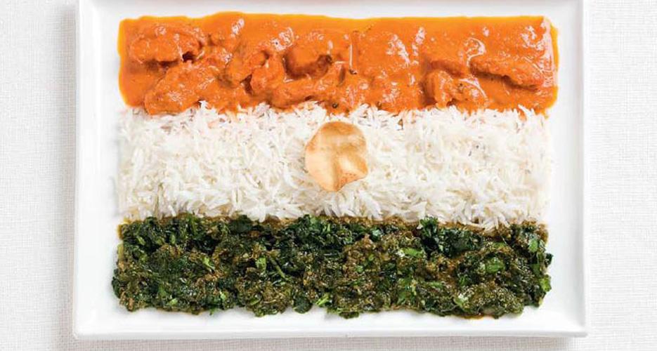 India (curry, rice, poppadom)