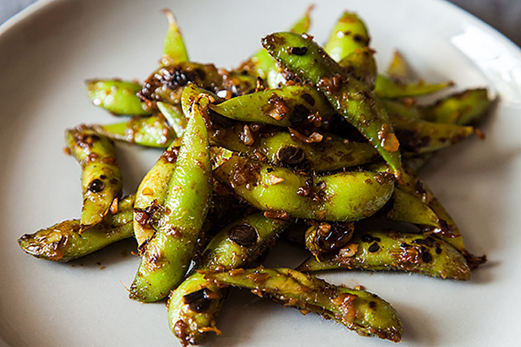 Black Bean Orange Peel Edamame. These are salty, sweet, fragrant, and finger-licking good. You can either make them in the pods, slurping the sauce clinging to the outside while stripping out the beans with your teeth or use shelled beans in a saucy side dish.