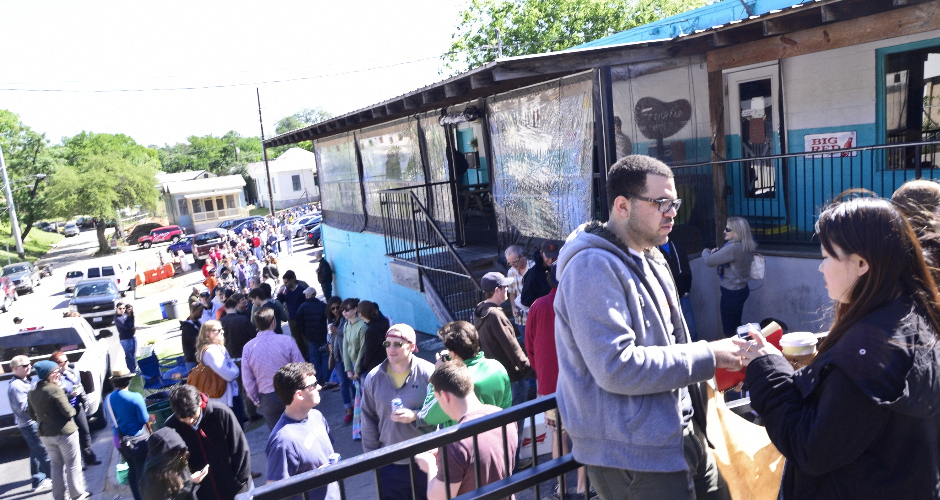 Hungry folks at 10am on Friday, April 17, 2013.