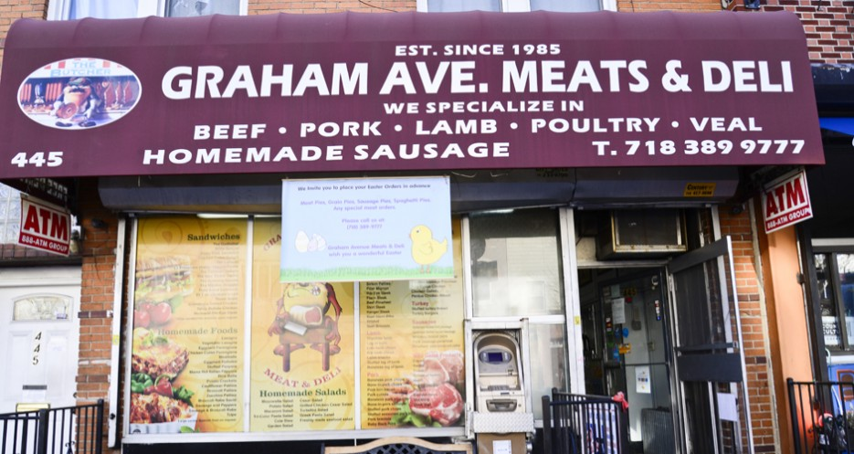 Graham Avenue Meats' humble facade.