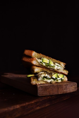 Marta calls this greens in a cheese toast. We call it a stuffed grilled cheese like no other.