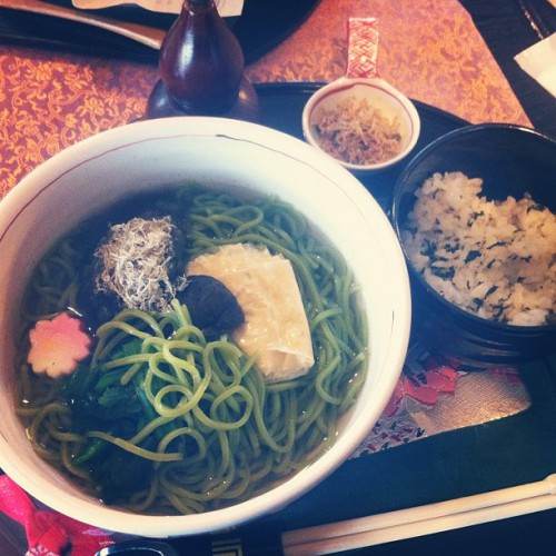Green tea soba makes for a perfect lunch.