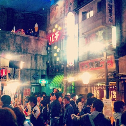 A scene from inside the Shinyokohama Ramen Museum, set up to look like a section of Tokyo in the '50s.