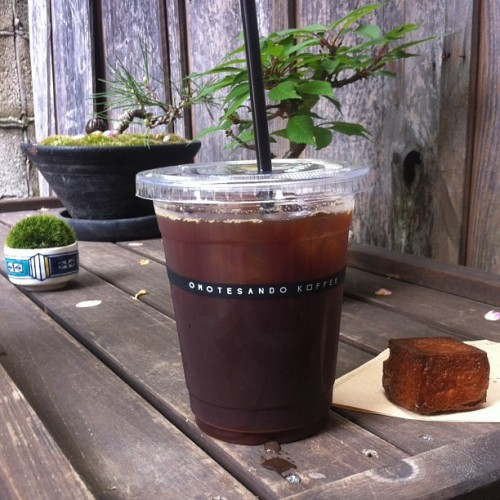 Ice coffee at the beautiful Omotesando Koffee, set inside what looks like a traditional Japanese living room. The small garden is a good place to get caffeinated while gazing at bonsai trees.