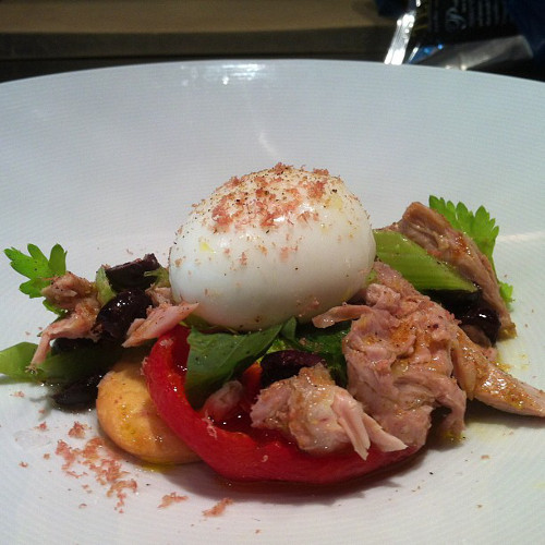 @jonathanbenno gives us a visual taste of Cappunada di Tonno with olive oil-poached tuna and a five-minute egg.