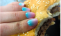 Those nails might be a homemade gradient, but that burger is definitely Five Guys.