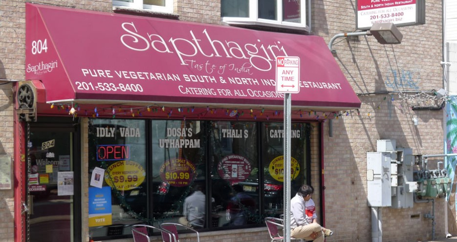 "Translated as ""Seven Hills,"" Sapthagiri (804 Newark Avenue, 201-533-8400) is the best vegetarian restaurant on the block, and nearly all of the food is also vegan."