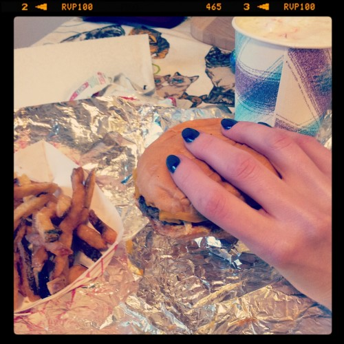 This person braved a Chicago snowstorm to get these shiny nails from OPI, as well as a burger, fries, and shake from Edzo's. Only one of those is worth it.