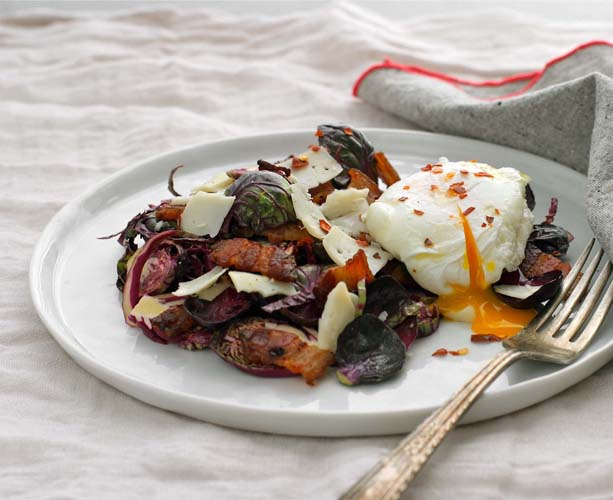 Sometimes, Kate breaks out a recipe of her own. Here, purple Brussels sprouts with poached egg.