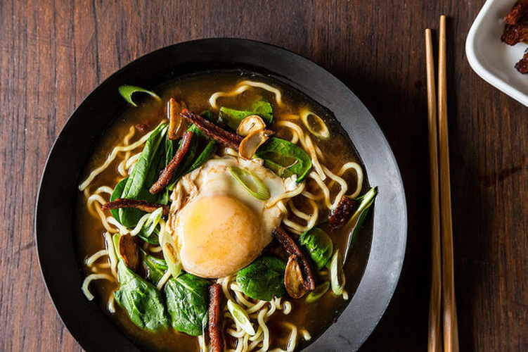 Bacon & Egg Ramen. This soup is a pantry meal, but it tastes like anything but. The combination of ginger, lemongrass, and black vinegar gives it enormous flavor that holds its own against the studs of smoky bacon and punchy mustard greens.