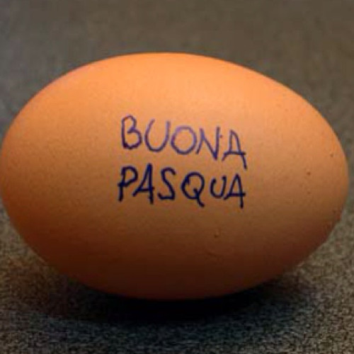 @rubirosanyc wrote on an egg to celebrate Easter.
