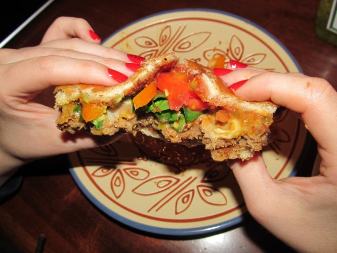 The red on those nails may be classic, but a homemade veggie burger using a Kroger's product definitely isn't.