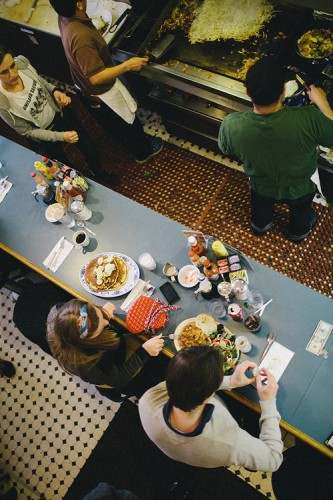 Marta gives us an aerial view of breakfast at Pork Store Cafe on Haight St. in San Francisco.