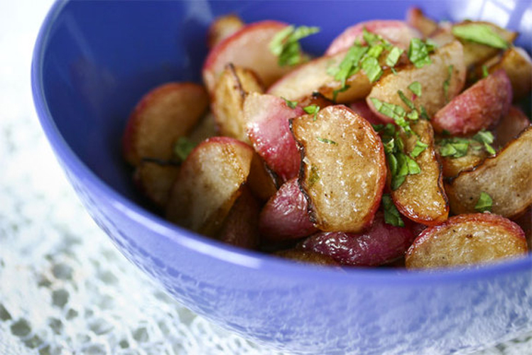 Sauteed Radishes with Mint.         Exposing much of the radishes' surface area to brown butter gives them a sexy caramel color and delicate flavor, which the mint subtly accents. Get the recipe