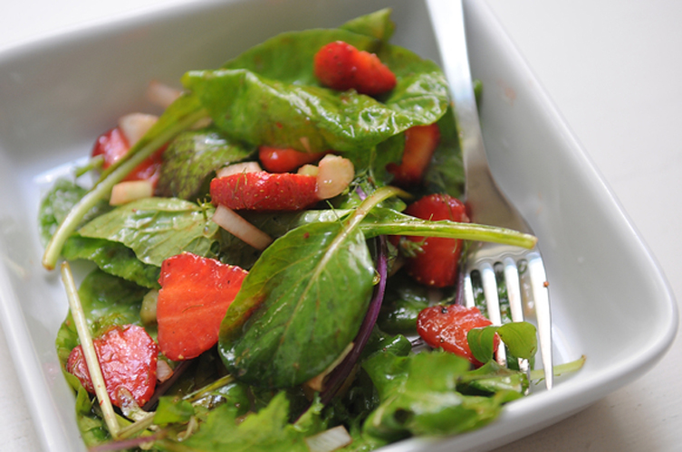 Strawberry Salad. The delicious, sweet-savory combination of strawberries, balsamic vinegar and freshly ground black pepper is expanded into a salad with mixed greens, finely chopped celery, and fennel. Get the recipe.