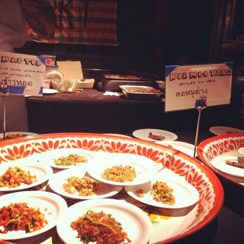 Night+Market's (@NtMRKT) crispy rice salad with spicy fermented pork and grilled pork collar in the background. (Photo: @latimesevents)