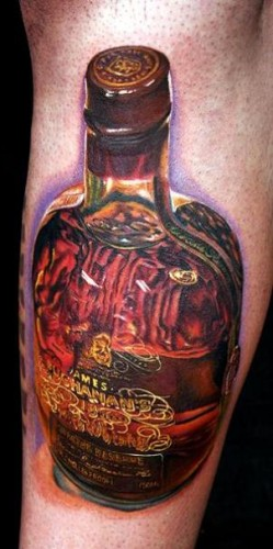 """This tattoo aims for hyperrealism and almost pulls it off, except for the bizarre purple aura. (Photo: """"a href=http://poundedink.com/top-tattoo-artists/cecil-porter-awesome-color-tattoos/"""">Pounded Ink)"""