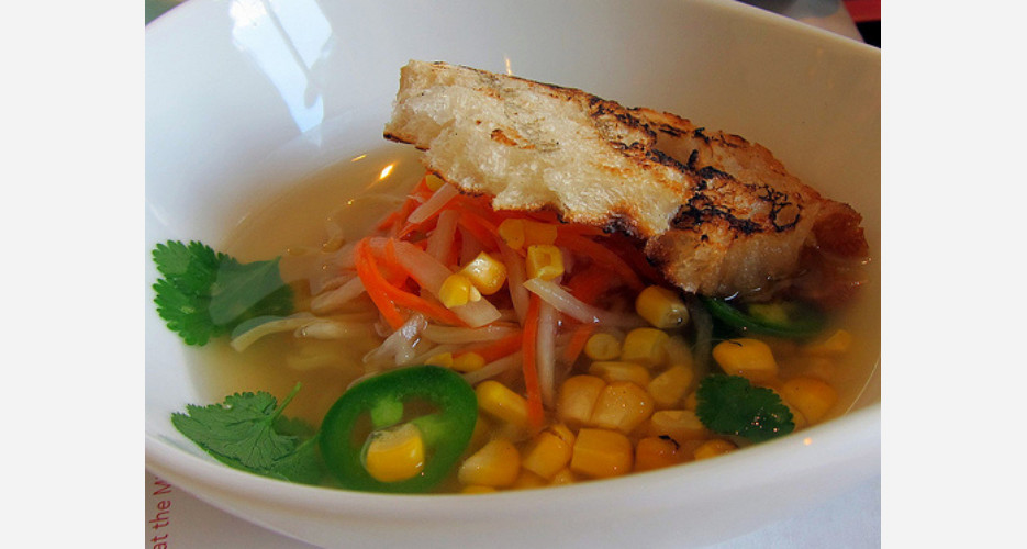 Banh mi ramen at Sai Sai Noodle Bar (Los Angeles). A sandwich in soup form, with a light vegetable broth floating traditional ingredients from the beloved Vietnamese sandwich, including pickled carrots, daikon, sliced jalapeños, pork belly, and even grilled bread. millenniumhotels.com (Photo: TheMinty.com)
