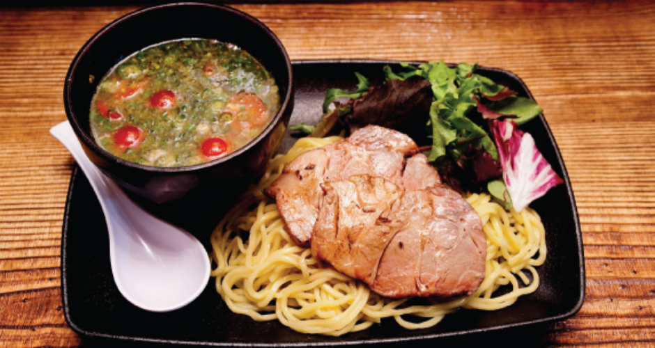"""Johnny Dip ramen at Ikemen (Los Angeles). Another sandwich in ramen form, this one is built with a tonkotsu """"au jus"""" broth that's mixed with green onions and Italian basil. ikemenhollywood.com (Photo: Ikemen)"""