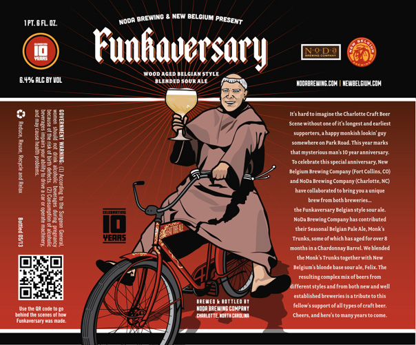 Since New Belgium expanded to North Carolina,  they've clearly made new friends, like NODA Brewing. Monks on bikes!