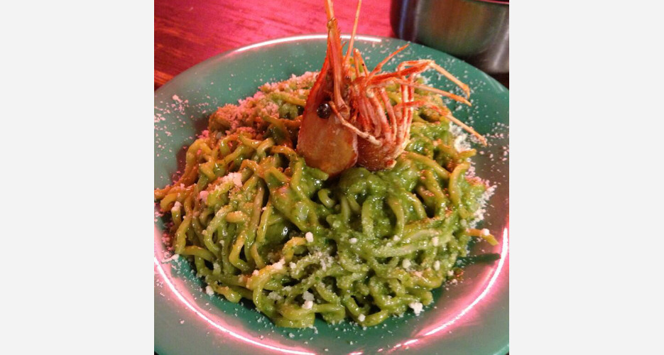Ramen Portofino (Pesto Prawn) at Mission Chinese (NYC). Another from Bowien and the Mission squad, taking you from Japan to the Italian seaside to the Lower East Side. Twitter/@dannybowien)