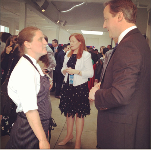April Bloomfield with Prime Minister David Cameron