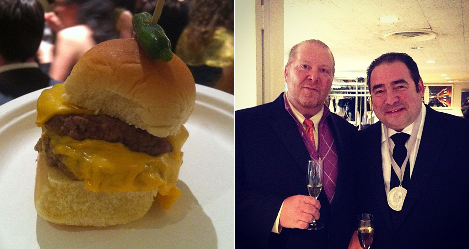 Left to right: Nate Appleman's double cheeseburger; Mario Batali and Emeril Lagasse (photo: James Beard Foundation)