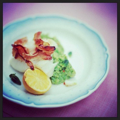 @jamieoliver is back on the roundup with grilled white fish and smoked pancetta with minty smashed peas.